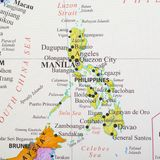 Map of Philippines. Manila is the capital city of Philippines stock images