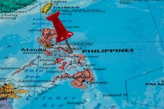 Map of Philippines. With a red pushpin stuck royalty free stock images