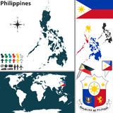 Map of Philippines. Vector map of Philippines with regions, coat of arms and location on world map royalty free illustration
