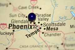 Map of Phoenix. A map pin marking Phoenix stock image