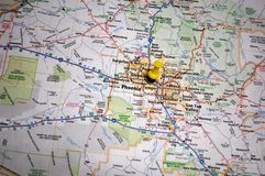 Phoenix, Arizona. A map of Phoenix, Arizona marked with a push pin royalty free stock photo