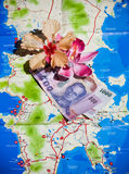 Map of Phuket Thailand. With money Stock Images