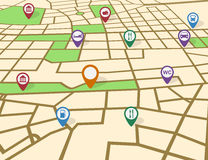 Map. Picture of a map with pointers and icons royalty free illustration