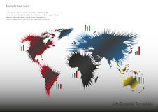 Map with pie charts. World map with pointers and pie charts Royalty Free Stock Photos