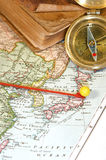 Map Pin. Vintage (1907 copyright - EXPIRED) map with destination string and push pin Royalty Free Stock Image