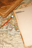 Map Pin. Vintage (1907 copyright - EXPIRED) map with destination string and push pin Royalty Free Stock Photos