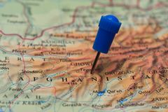 Map with pin in - of Afghanistan Stock Image