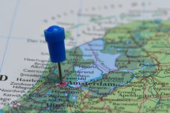 Map with pin in - of Amsterdam, Netherland Stock Image