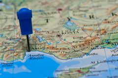 Map with pin in - of Antalya, Turkey Stock Photography