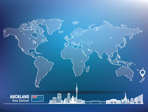 Map pin with Auckland skyline Royalty Free Stock Photo
