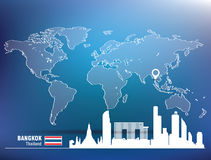 Map pin with Bangkok skyline Stock Images