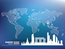 Map pin with Bangkok skyline Stock Images