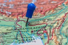 Map with pin in - of Bangladesh Royalty Free Stock Images