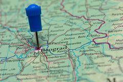 Map with pin in - of Beograd, Serbia Royalty Free Stock Images