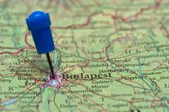 Map with pin in - of Budapest. Hungary Royalty Free Stock Images