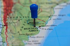 Map with pin in - of Buenos Aires, Argentina Stock Photo