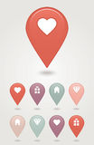Map pin button. EPS 10 vector file has transparency (shadow under the icons) mapping pins icon Valentine's Day Stock Photography