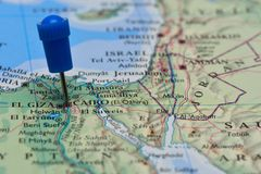 Map with pin in - of Cairo, Egypt Royalty Free Stock Photography
