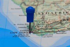 Map with pin in - of Cape Town, South Africa Royalty Free Stock Photography