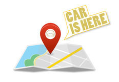Map with pin and car sign. On  backgroundn Stock Photography