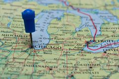 Map with pin in - of Chicago, USA Royalty Free Stock Photography