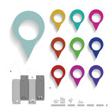 Map pin color set Royalty Free Stock Photos