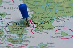 Map with pin in - of Copenhagen, Denmark Stock Image