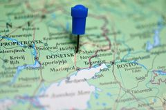 Map with pin in Donetsk, Ukraine Stock Photography