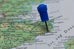 Map with pin in - of Dover, Great Britain Stock Photo