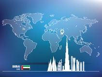 Map pin with Dubai skyline. Illustration Royalty Free Stock Images