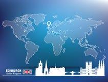 Map pin with Edinburgh skyline Royalty Free Stock Photo