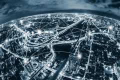 Map pin flat above blue tone city scape and network connection Stock Image
