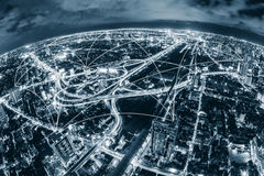 Map pin flat above blue tone city scape and network connection Royalty Free Stock Image