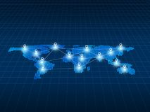 Map pin flat of global business and network connection concept,. 3d illustration Stock Image