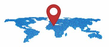 Map pin flat of global business and network connection concept. 3d illustration Stock Image