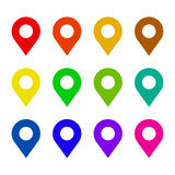 Map pin flat icon set. Map pin icon set. Simple flat style pin symbols set for location or navigation. Different colors icons Royalty Free Stock Photo