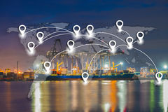 Map pin flat network conection on world global logistics and tra. Nsportation connection of industrial port with containers cargo ship background (Elements of Stock Photo