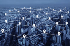 Map pin flat of network connection in city. Royalty Free Stock Photo