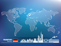 Map pin with Frankfurt skyline Stock Photo