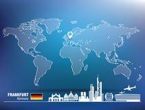 Map pin with Frankfurt skyline Stock Photo