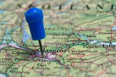 Map with pin in - of Glasgow, Great Britain Stock Photo