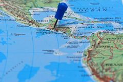 Map with pin in - of Guatemala Stock Image