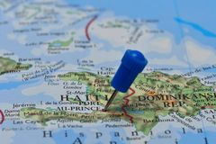 Map with pin in - of Haiti Stock Images