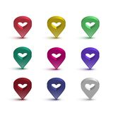 Map pin with heart set. Vector shiny signs with hearts for map isolated on white background. Map pin with heart set. Vector shiny signs with hearts for map Royalty Free Stock Images