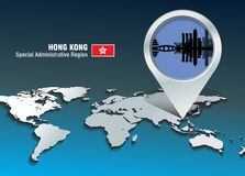 Map pin with Hong Kong skyline Stock Image