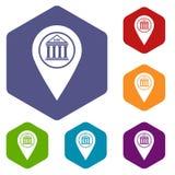 Map pin icons set hexagon Stock Photography
