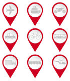 Map pin icons of transports Royalty Free Stock Photos