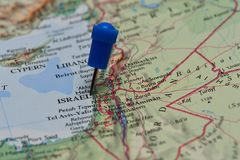 Map with pin in - of Israel Royalty Free Stock Photo