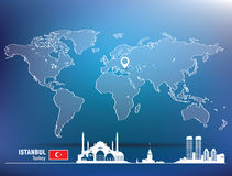 Map pin with Istanbul skyline Stock Images