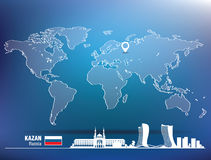 Map pin with Kazan skyline Stock Images